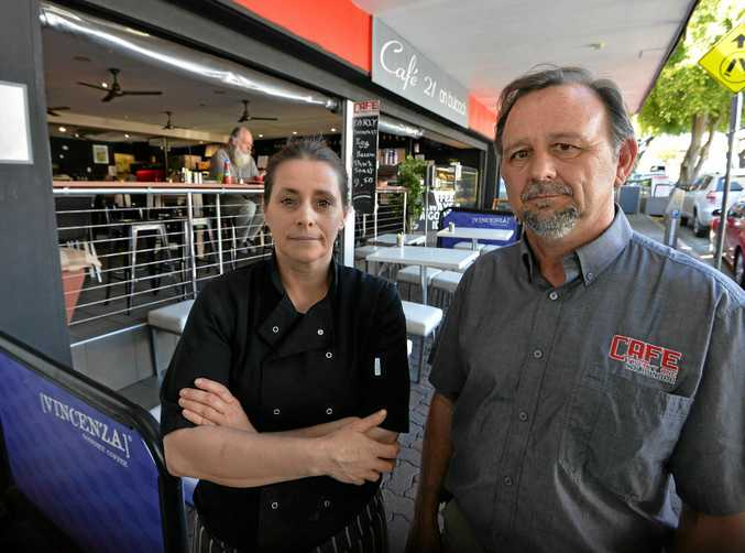 Cafe 21 owners Emma and Terry Shepherd are very worried that Caloundra streetscape works planned for next year will severely affect their business.
