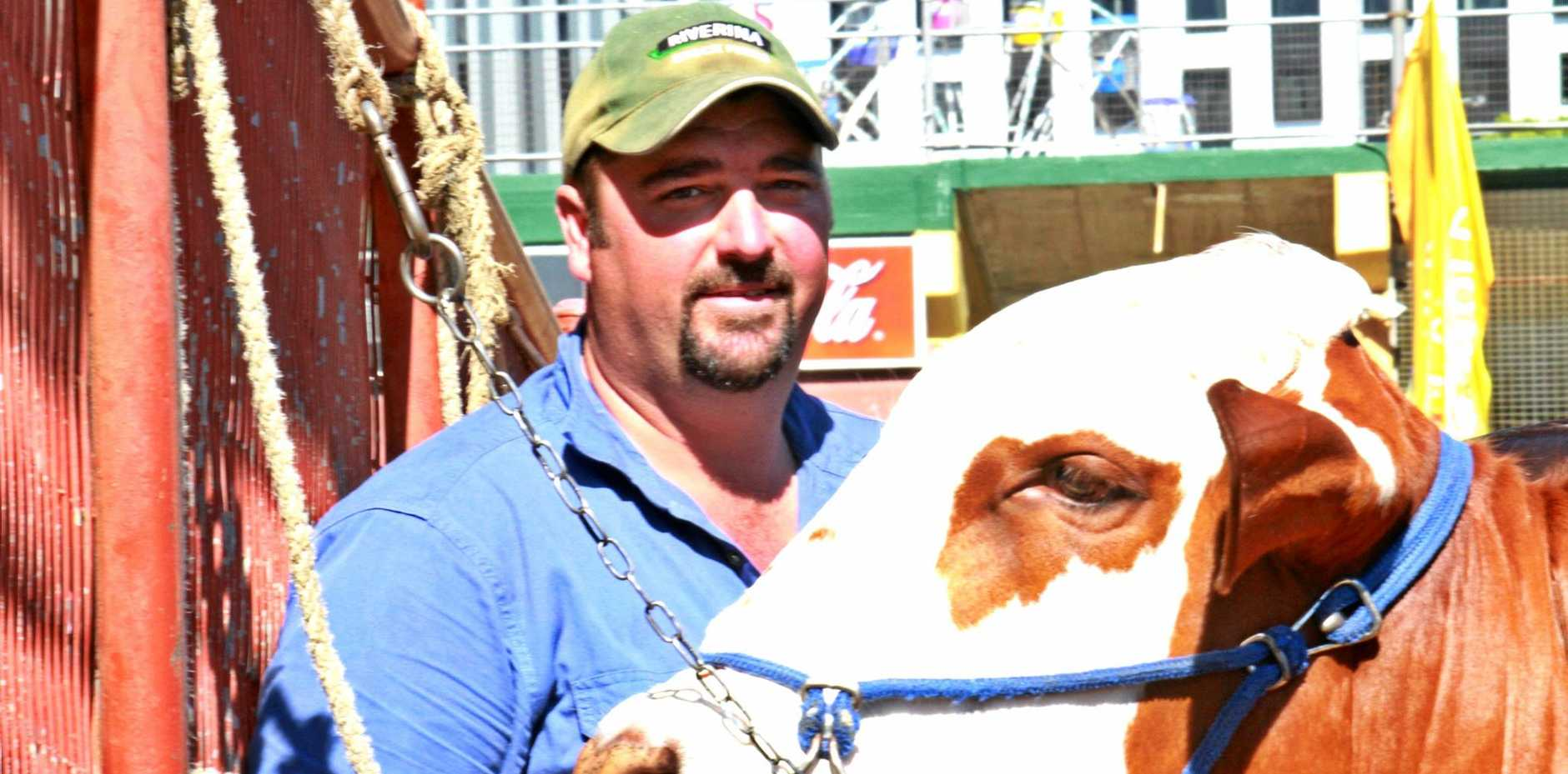 Northern Rivers Braford breeder Cameron Bennett enjoys the Ekka sunshine and atmosphere.