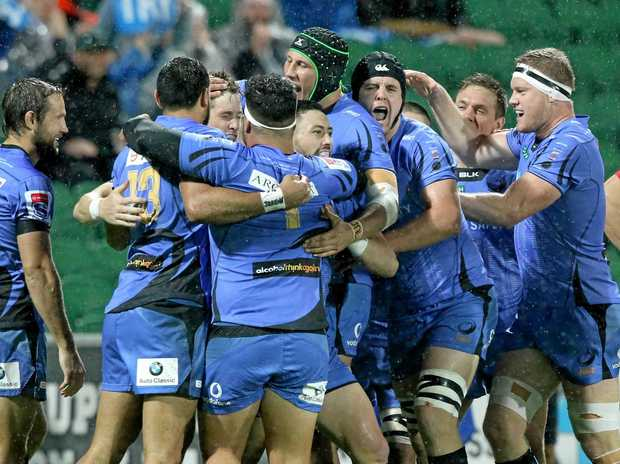 Western Force players celebrate a try during the round 17 Super Rugby match against the NSW Waratahs at nib Stadium in Perth