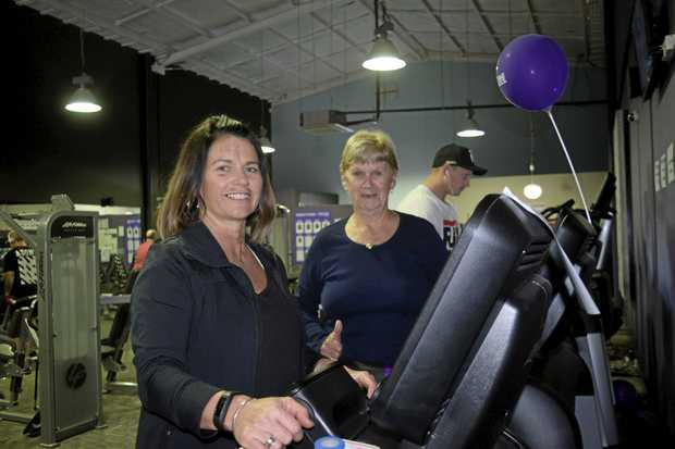 LONG HAUL: Cherrie Moran is cheered on by her mum Janice during the Anytime Fitness Grafton 24-hour Treadmill Challenge.