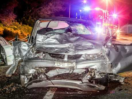 The Holden Commodore involved in the crash. Picture: Gary Sissons