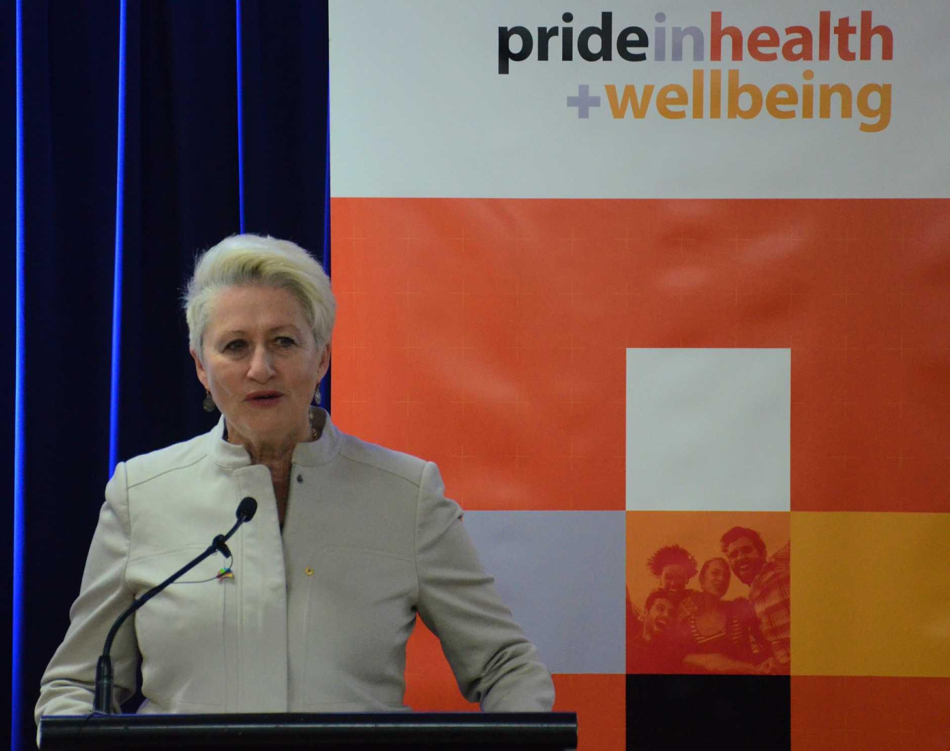 PRIDE HEALTH: LGBTI health advocate Prof Kerryn Phelps speaking at the Pride in Health + Wellbeing program launch.