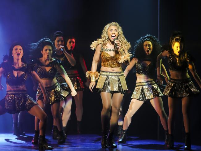 Paulini (centre) on stage in The Bodyguard. Picture: Mark Cranitch.