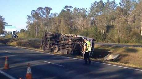 BACKED UP: Delays are expected on the Bruce Hwy in the wake of a truck and car collision this morning.