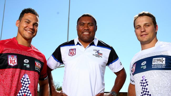 Guest player Petero Civoniceva with the team captains Hayden Lea and Jarrod Knox. Picture: Adam Head
