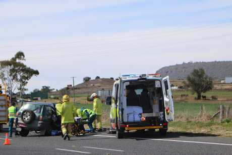 A woman has been severely injured in a crash with a gas tanker on the Cunningham Hwy at Clintonvale.