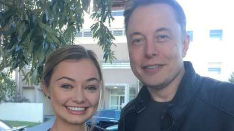 Billionaire Elon Musk with Gold Coast Bulletin journalist Sally Coates at Paddock Bakery, Miami. Photo taken by Amber Heard
