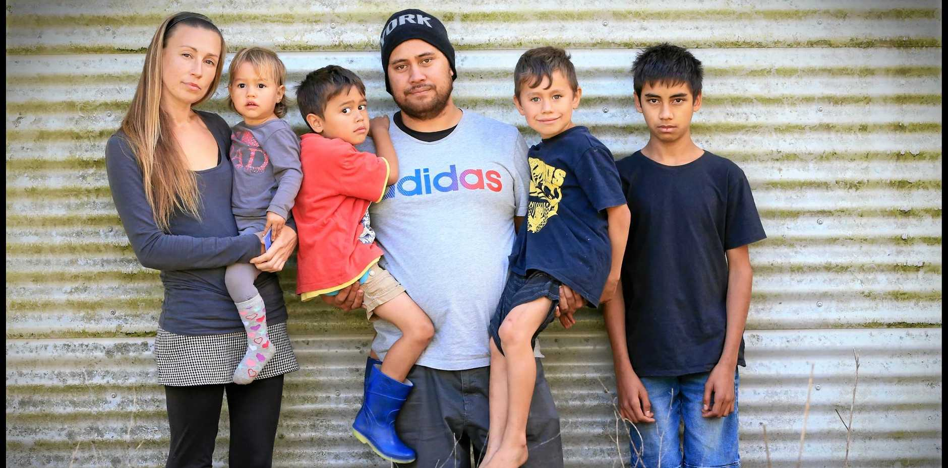 Victims of the Bhula bhula Intentional Community scheme in Tweed Valley are Sarah and Tamati Kirkwood, with their children Rangimarie, 2, Wiremu, 5, Zachary, 7 and Manaaki, 15.