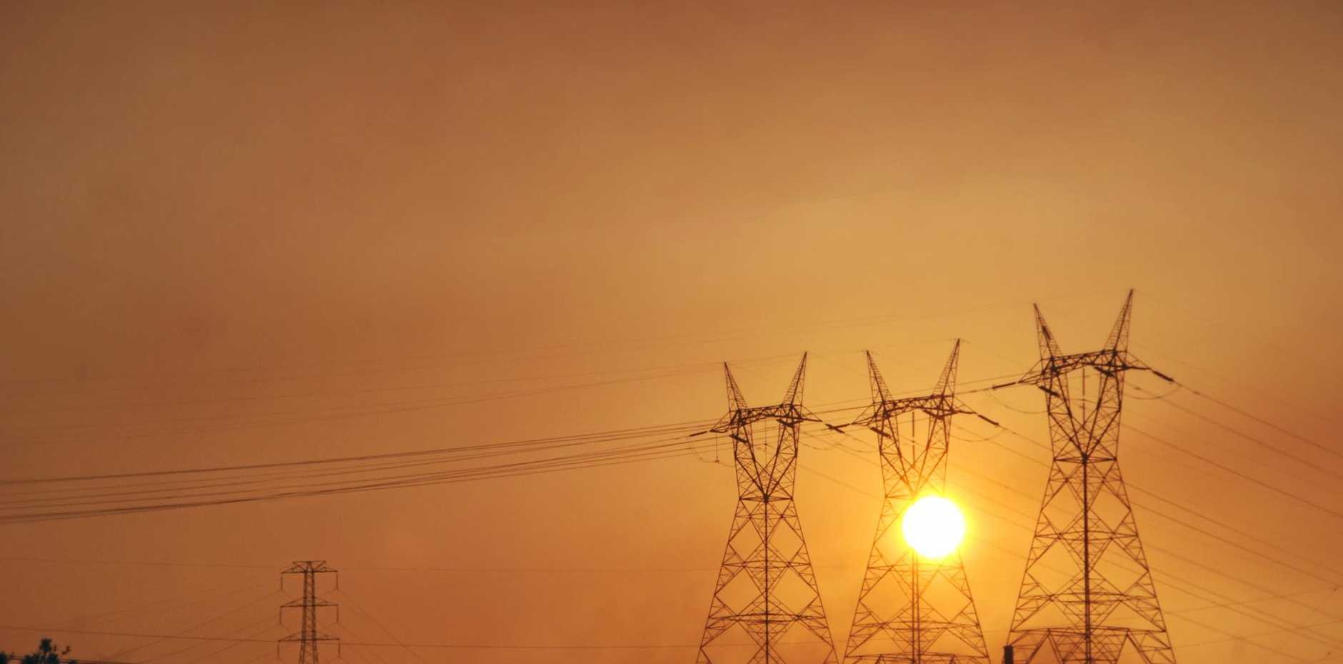 Eectricity pylons and power lines at sun set sun rise in Woolooga Photo Craig Warhurst/The Gympie Times