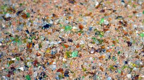 An example of sand made from recycled glass in Rockhampton.