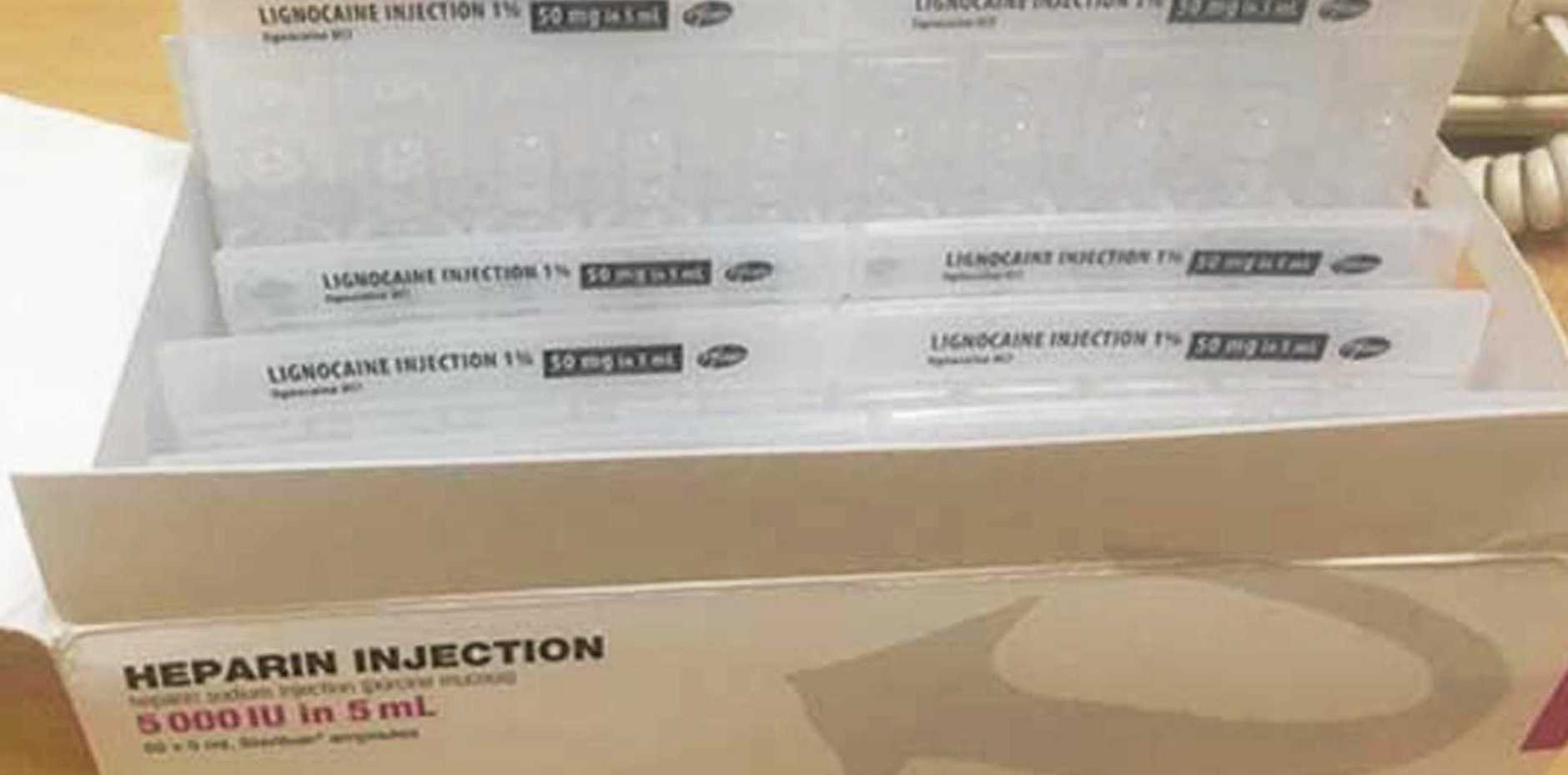 The Lignocaine ampoules found inside Heparin packaging.