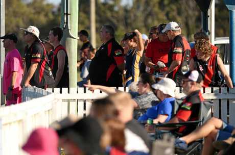 Hervey Bay Bombers coaches and supporters watch on. QFA Wide Bay Sunshine Coast elimination final: Bay Power v Hervey Bay Bombers at Keith Dunne Oval, Hervey Bay.