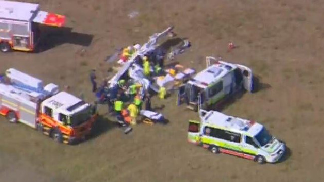 Plane flips at Caloundra airport. Picture: 7News Queensland