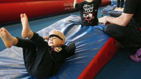 Oliver Caddick in his ninja warrior class at Caringbah YMCA.