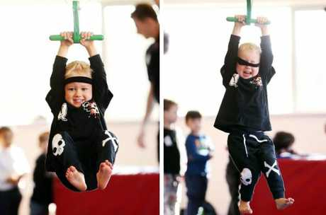 Oliver Caddick takes part in the Kids Ninja Warrior classes at Caringbah YMCA. Picture: Sam Ruttyn