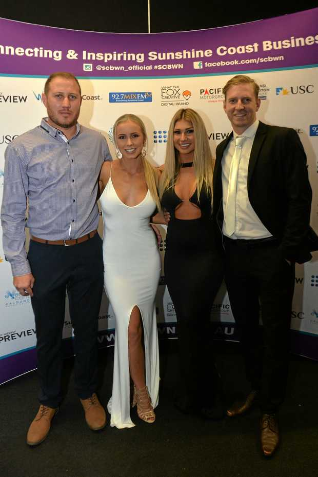 NIGHT OF GLAMOUR: Hard work got Steve Loadsman, Jaymee Martin, Natasha Grzeskowiak and Mac Preston to the Sunshine Coast Business Woman's Network Awards.