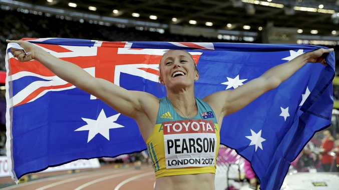 Australia's Sally Pearson celebrates after winning the gold medal in the women's 100m hurdles final during the World Athletics Championships in London