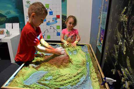 SCIENCE KIDS: Liam, 6 (left) and Larissa Murphy loved the hands on interactive exhibits at the Rockhampton FLOW Centre.