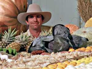 Farmer Jon helps produce a top display