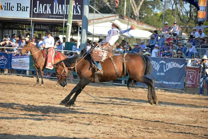 HERO: Swanfels rider Lane Grayson in front of a large Warwick hometown crowd in saddle bronc at the Warwick Rodeo.