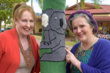 Paula Dalton showing her koala knitting to Kyogle mayor Danielle Mulholland.