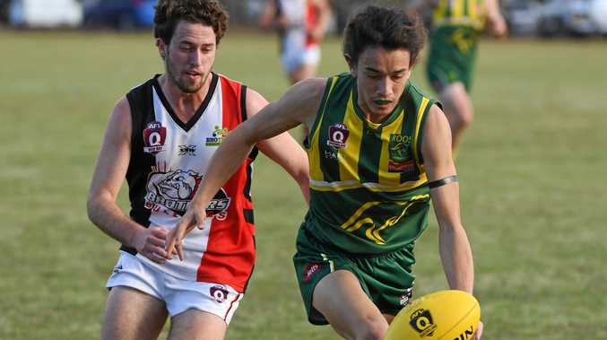 UNDER PRESSURE: Zac Epstein races for the ball for Maroochydore in the AFL game Brothers Sports Complex.