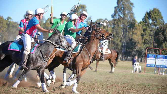 Matt Hardy in possession for the Warwick 1 mixed team in a game against Tara at the Cunningham Polocrosse Club carnival.