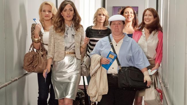 Wenid McLendon-Covey, Rose Byrne, Kristen Wiig, Melissa McCarthy, Maya Rudolph and Ellie Kemper in Bridesmaids.