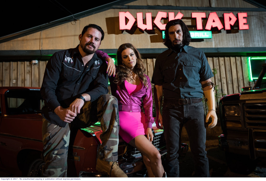 Channing Tatum, Riley Keough and Adam Driver in a scene from Logan Lucky.