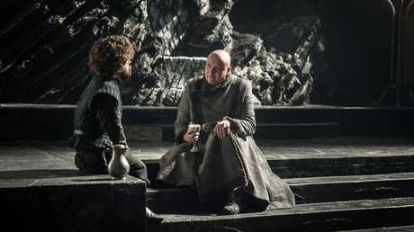 Peter Dinklage as Tyrion Lannister and Conleth Hill as Varys in a scene from Game of Thrones.