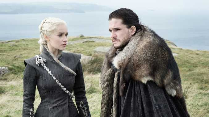 Emilia Clarke as Daenerys Targaryen and Kit Harington as Jon Snow in a scene from season 7 episode 5 of Game of Thrones.