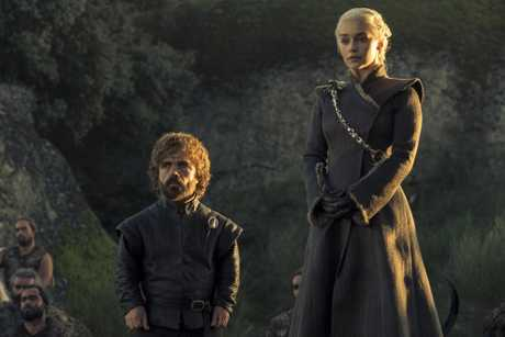 Peter Dinklage as Tyrion Lannister and Emilia Clarke as Daenerys Targaryen in a scene from Game of Thrones.