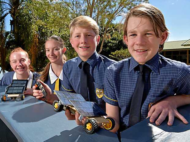 Immanuel Lutheran College Year 9 students Jocelyn Lindsay, Ella McFie, Oliver Beard and William Richards have been making model solar powered cars in science class.