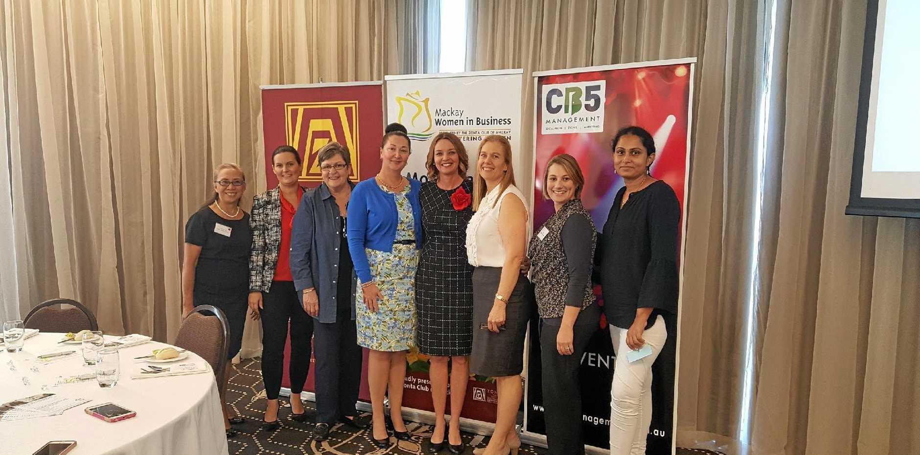 WOMEN IN BUSINESS: Vivien Hanrahan, Rebecca Lamb, Nikki Colfs, Judy Spannagle, Leanne Druery, Jennifer Hickey, Wendy Steindl and Abi Karthnik at the Harrup Park event.