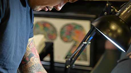 Hori Kaz at work at Ink Attack Tattoo Convention.