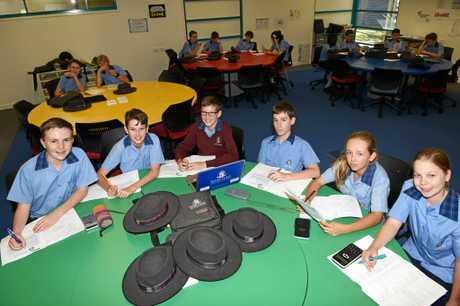Fraser Coast Anglican College Yr 7 students (from left): Zac Tyson, Kayne Goodluck, Declan Lyttle, Lian Horton, Vada Thaggard, and Stephanie Wright.