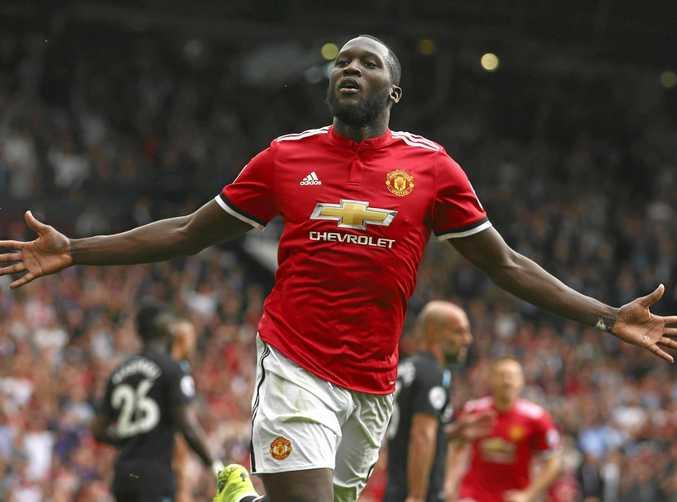 Manchester United's Romelu Lukaku celebrates scoring his second goal against West Ham.