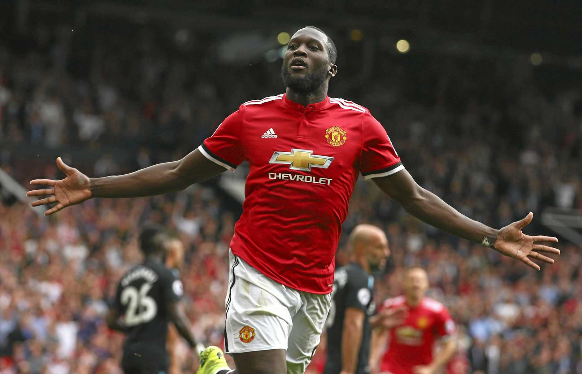 Manchester United's Romelu Lukaku celebrates scoring his second goal against West Ham.