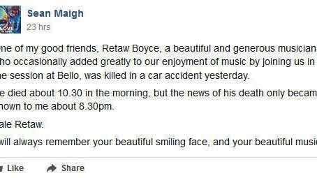 Tributes flow for talented musician Retaw Boyce.
