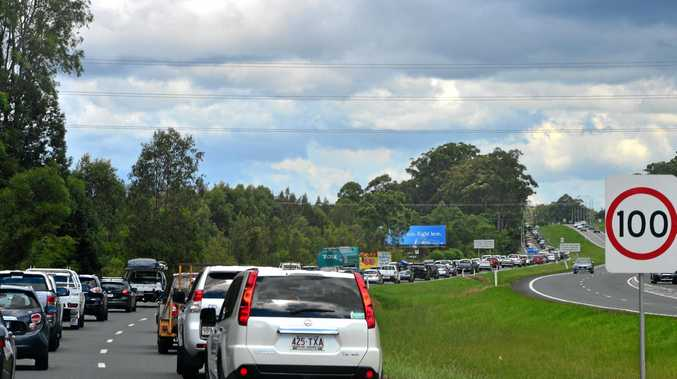 TRAFFIC QUEUES: Southbound traffic on the Bruce Hwy.