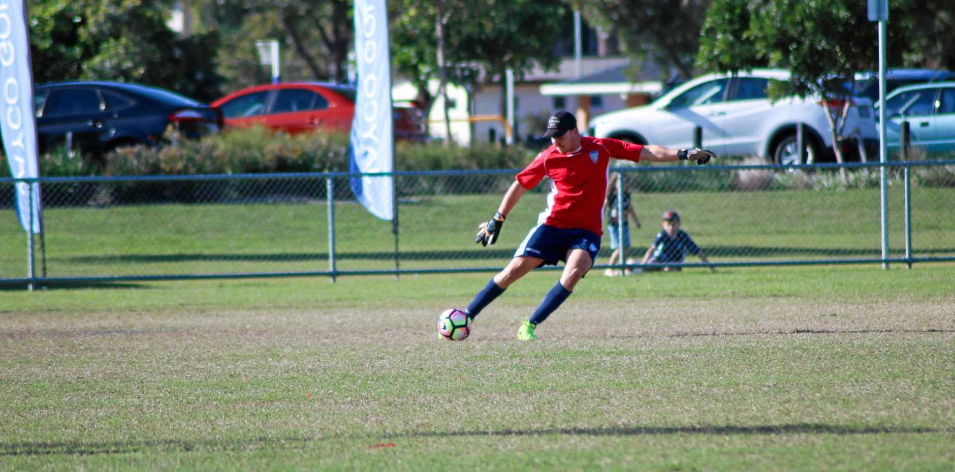Tweed United's Alex Thelwall helped to secured his team's win against Kingscliff.