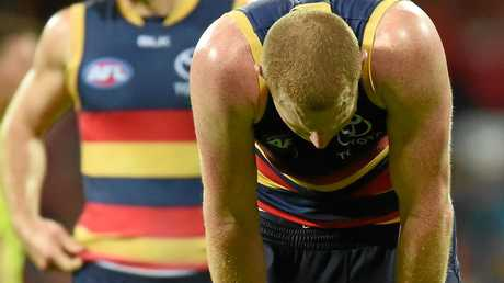 Adelaide ruckman Sam Jacobs feels the pain of defeat.