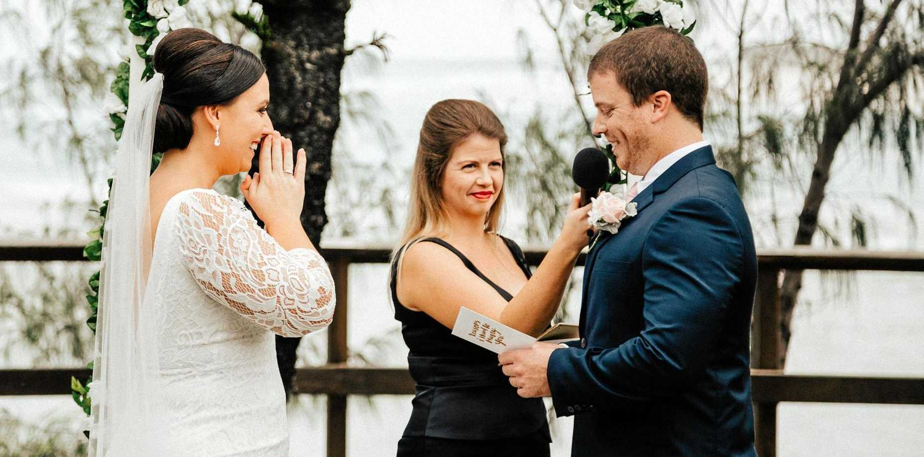 I DO: Alison and Andrew Jagoe were married in April last year at Happy Valley, Caloundra by Fiona Duce and chose to include a statement in their ceremony in support of marriage equality.