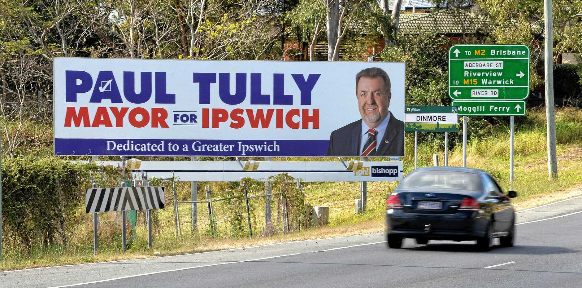 Paul Tully mayoral election sign at Dinmore.