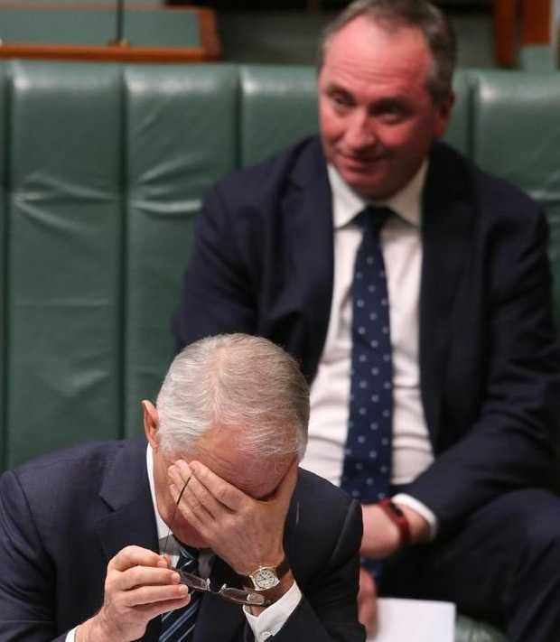 There are growing calls for Barnaby Joyce to step aside but the Prime Minister is backing his deputy. Picture: Kym SmithSource:News Corp Australia