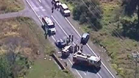 Two people died after a crash in Buccan. Photo: Nine News Queensland/Twitter