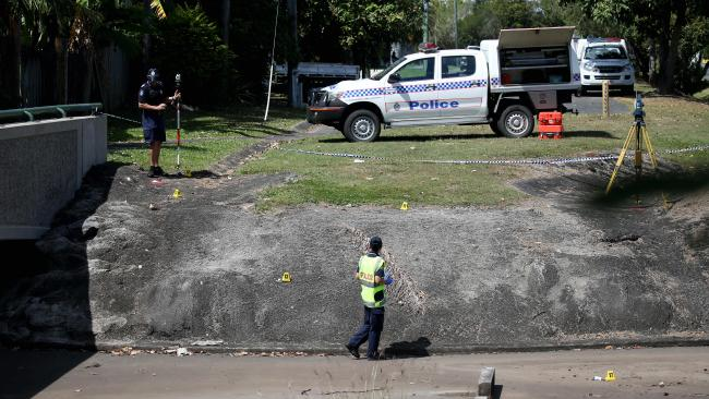 Forensic Police at Stockland crime scene where a woman suffered serious injuries after falling into a large drain on Mulgrave road. PICTURE: STEWART McLEAN
