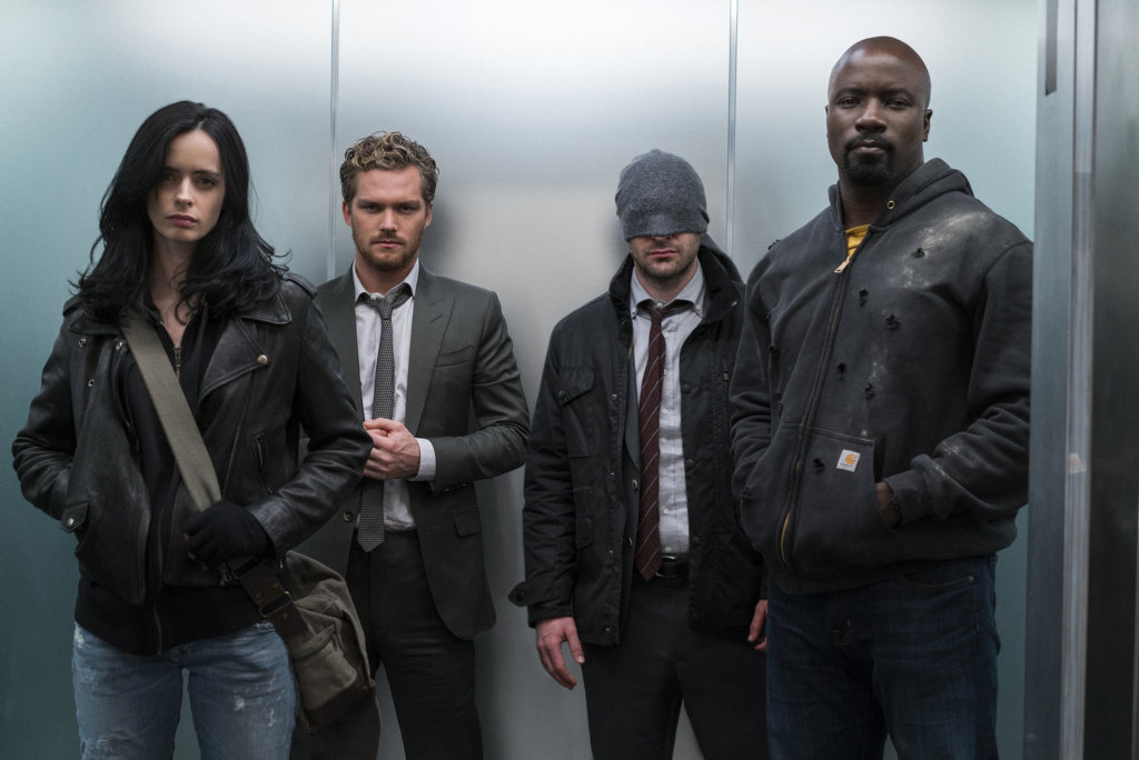 Defenders assemble: Krysten Ritter, Finn Jones, Charlie Cox and Mike Colter in a scene from Marvel's The Defenders.