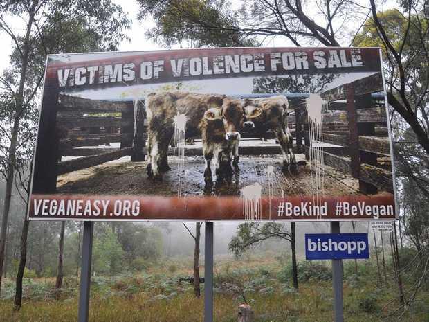 VANDALISED: The Vegans in Toowoomba billboard north of the CBD was vandalised.