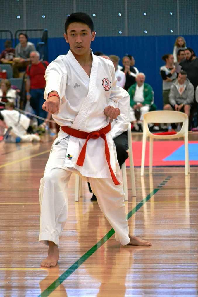 Toowoomba's Israel Escano at the GKR Karate World Cup at the Gold Coast.